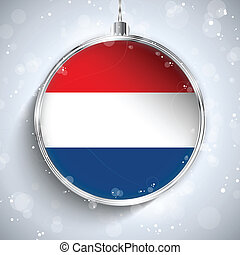 Merry Christmas Silver Ball with Flag Netherlands