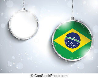 Merry Christmas Silver Ball with Flag Brazil