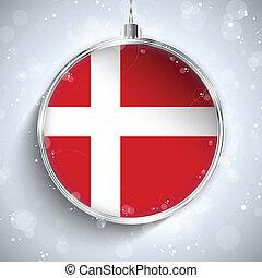 Merry Christmas Silver Ball with Flag Denmark