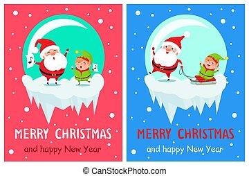 Merry Christmas Singing Santa Vector Illustration