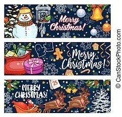 Merry Christmas sketch vector greeting banners