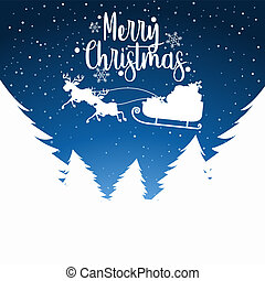 Merry Christmas sleigh silhoutte illustration