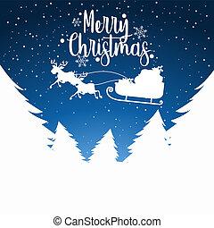 Merry Christmas sleigh silhoutte illustration