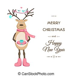 Merry Christmas smiling reindeer card template - Smiling...