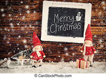 Merry Christmas snow scene with greeting