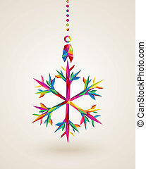Merry Christmas snowflake multicolors hanging bauble -...