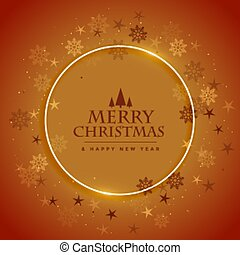 merry christmas snowflakes frame brown background design