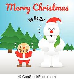Merry Christmas - Snowman Acting Like Santa Claus