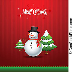 Merry Christmas Snowman and tree
