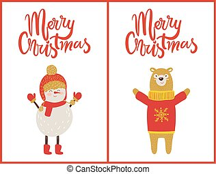 Merry Christmas Snowman, Bear Vector Illustration