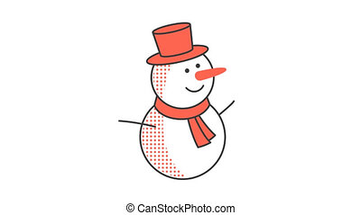 Merry Christmas snowman in a red hat and scarf. Animated...