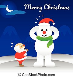 Merry Christmas - Snowman Wearing Hat Of Santa Claus