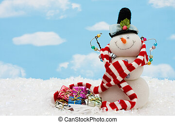 Merry Christmas - Snowman wearing scarf on blue sky...