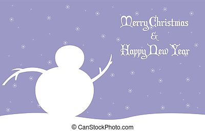 Merry Christmas snowman winter landscape