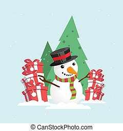 Merry Christmas Snowman with a gift box in snowy winter.