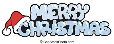 Merry Christmas snowy sign - vector illustration.