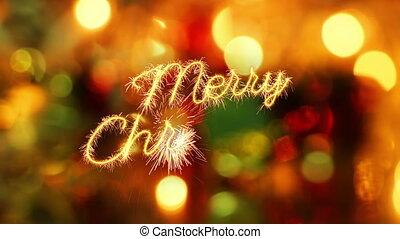 merry christmas sparkler greeting last 10 seconds loop -...