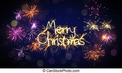merry christmas sparkler text loop