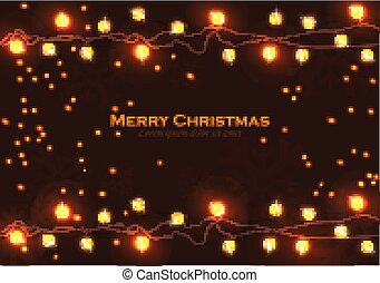 Merry Christmas sparkling lights Vector realistic illustration. Happy Holidays backgrounds