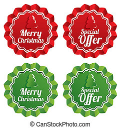 Merry christmas special offer price tags set.