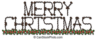 Merry Christmas spelled out of pinecones on a white...