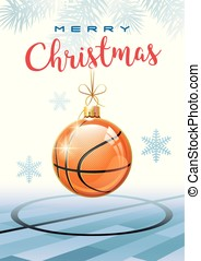 Merry Christmas. Sports greeting card. Basketball. - Merry...