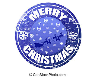 Blue grunge rubber stamp with Flying Santa, snowflakes and the text Merry Christmas written inside the stamp