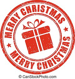Merry christmas stamp isolated on white background