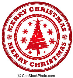 Merry christmas stamp isolated on white