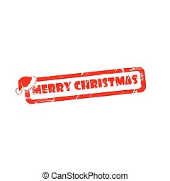 MERRY CHRISTMAS stamp sign text red.