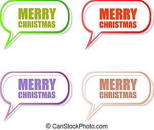 Merry Christmas stickers set isolated on white