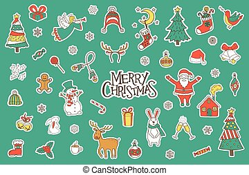 Merry Christmas Stickers Set