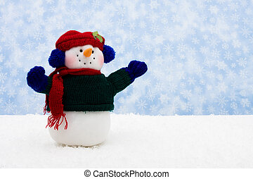 Merry Christmas - Snowman wearing scarf on snowflake...