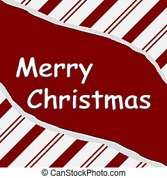 Merry Christmas - Red Candy Cane Christmas Torn Background...