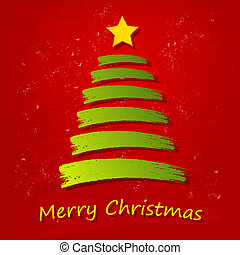 merry christmas - text with drawn green christmas tree and...