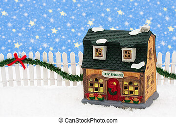 Merry Christmas - Toy store and white picket fence with...