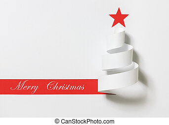 Merry Christmas - Christmas tree. Paper cut on a red...