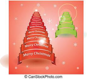 merry christmas, strom, od, červeň, nebo, nezkušený, lem, standarta, eps10