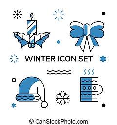 merry christmas symbol set vector design