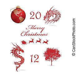 merry christmas symbols set red color