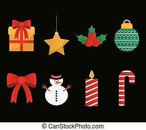 merry christmas symbols set vector design