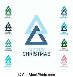 Merry Christmas Symbols Set. Xmas Trees Vector Logo Icons.
