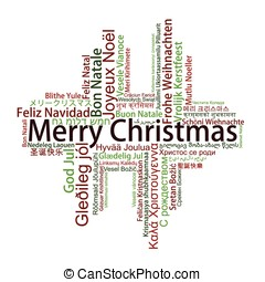 Merry Christmas Tag Cloud in different languages, vector