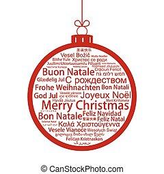 Merry Christmas tag cloud shaped as a Christmas ball, vector