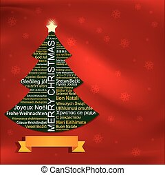 Merry Christmas Tag Cloud shaped as a Christmas tree