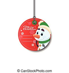 Merry Christmas Tag Holiday Sale Sticker With Snowman Isolated On White Background