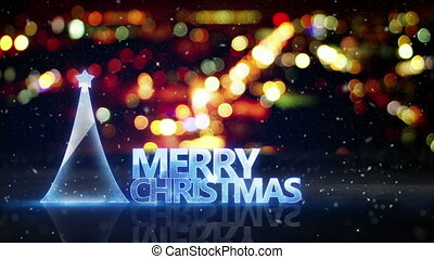 merry christmas text and city bokeh