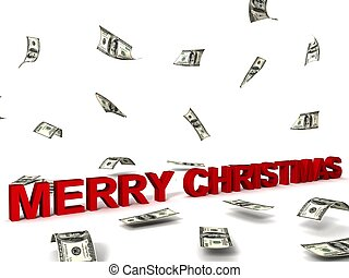 merry christmas text and dollars