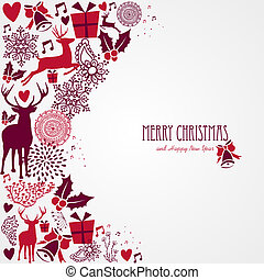 Merry Christmas text and vintage elements vector file.