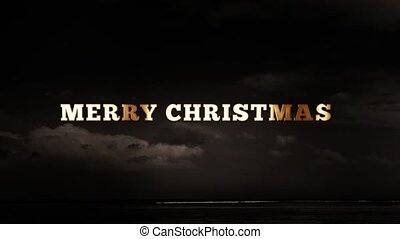 MERRY CHRISTMAS - text animation with gold letters over dark...